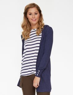 This longer-length cardigan has a hood and shell buttons on the cuff.#NewandNow