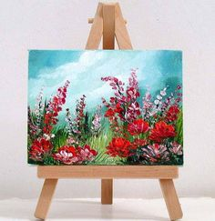 Poppies and wildflowers. 3x4 inch original miniature oil