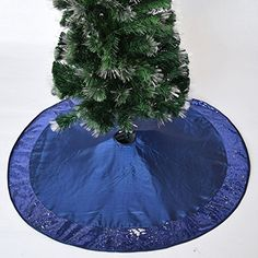 Gireshome 42 Blue Faux Silk Deluxe Berry Embroidered with Handcraft Pintuck Border Christmas Tree Skirt Christmas Decoration