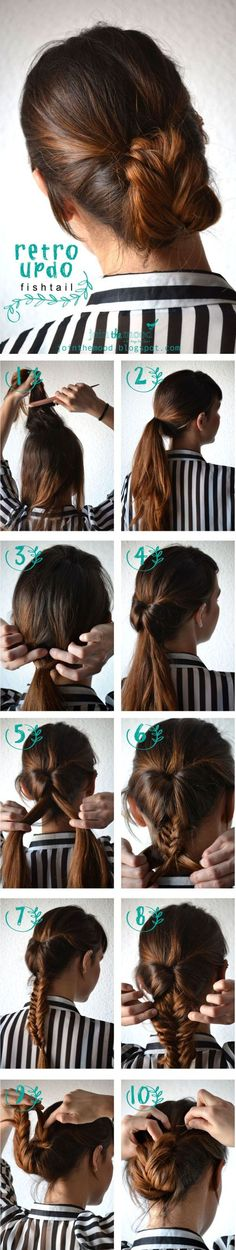 a cool retro updo fishtail braid. Create a cool retro updo fishtail braid. Fishtail Hairstyles, No Heat Hairstyles, Hairstyles Haircuts, Pretty Hairstyles, Fishtail Updo, Braided Updo, Bun Braid, French Hairstyles, Latest Hairstyles