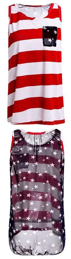 $1.7 Stylish Scoop Collar Striped Star Print High-Low Hem Tank Top For Women
