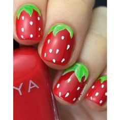 These are so cute. I would definitely consider dong the ring finger another strawberry color or add some green glitter to the stems for an alternate ❤️