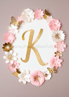 Royal Garden Pink & Gold Glitter Oval Floral Letter Monogram Frame by TracesofPearl . Beautiful paper flowers and butterflies. Pink and gold glitter. Perfect for first birthday, tea party, princess party, room decorating.