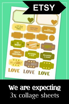 We are expecting. Pregnancy journal collage sheet kit in gender-neutral colors. Ideal for the first trimester. #pregnancy #journal #expecting #collage #sheet #printable #printables #ephemera #first #trimester Printable Planner, Planner Stickers, Printables, Gender Neutral Colors, Pregnancy Journal, Collage Sheet, Digital Collage, Ephemera, Card Making
