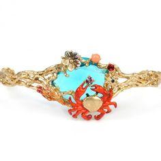 Jonc pierre bleue océan, crabe et coraux