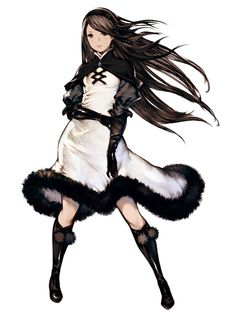1girl agnes_oblige black_eyes black_hair boots bravely_default:_flying_fairy cape dress elbow_gloves fur gloves hairband knee_boots long_hair official_art open_mouth puffy_sleeves simple_background skirt solo standing white_background yoshida_akihiko