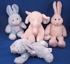 New product 'GUND Heads and Tales Pink Rabbit Pink Feet Upright Ears' added to Dirty Butter Plush Animal Shoppe! - $8.00 - GUND HEADS and TALES Plush Stuffed Pink Chenille Bunny Rabbit Pink Velour Feet, Upright Ears Thin Pink, White Ribbons Bo…