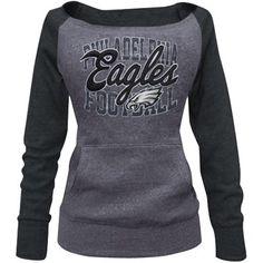 Philadelphia Eagles Women's Tri-Blend Fleece Raglan Sweatshirt - Ash/Charcoal