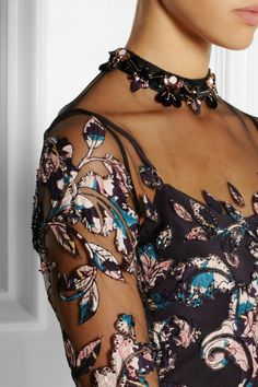 Biyan Illyana silk-appliquéd embellished tulle gown