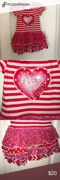 Valentine Dress with sequins Beautiful Valentines Day dress for little girl! Sequins, ruffles and so cute! Excellent condition. Bonnie Jean Dresses Casual