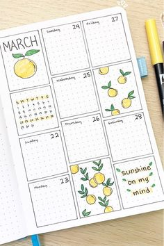 Looking for a new and fresh bullet journal theme for the spring and summer months? Check out these adorable lemon / lemonade themed cover pages, weekly spreads, monthly logs and more for inspiration! Planner Bullet Journal, Bullet Journal Paper, Bullet Journal Lettering Ideas, Bullet Journal Notebook, Bullet Journal School, Bullet Journal Spread, Bullet Journal Ideas Pages, Bullet Journal Layout, Bullet Journal Inspiration