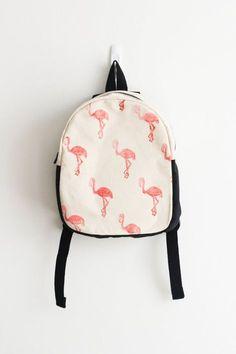 Toddler backpack Flamingo print Block printed by mulberryandjune