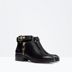 ZARA - WOMAN - LEATHER BOOTIE WITH ANKLE STRAP