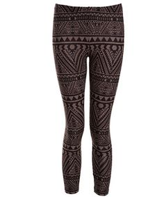 Brown Aztec Fleece Leggings   New Look