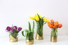 DIY Gold-Dipped Vases