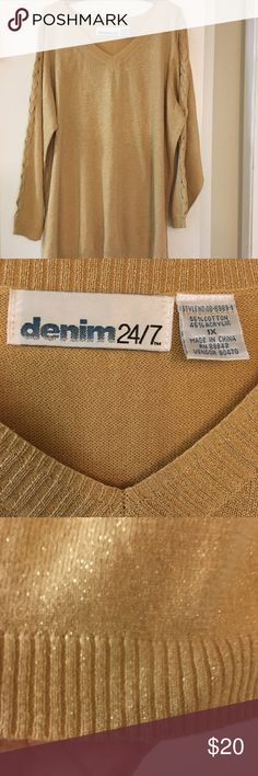 🌺DENIM 24/7 Beautiful Gold Sparkly Sweater🌺 ⭐️SALE⭐️V plunge. Light sweater not heavy. Unique braided/weaved design see through along both arms as seen in pictures. Denim 24/7 Sweaters