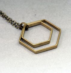Minimalist Double Hexagon Necklace by valerie geometric on Etsy- $19.75