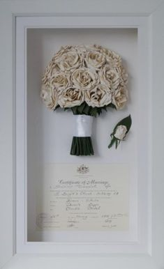 White rose wedding bouquet preserved and framed with wedding certificate. Dried wedding bouquet White rose wedding bouquet preserved and framed with wedding certificate. White Roses Wedding, Rose Wedding Bouquet, Wedding Flowers, Preserve Wedding Bouquets, Bridal Bouquet Diy, Winter Wedding Bouquets, Sunflower Wedding Favors, White Rose Bouquet, Bouquet Toss