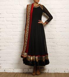 Black Georgette Anarkali, by Nidhika Shekhar