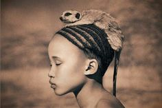 A south African Khoisan girl,in peace with nature.