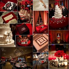 red and silver party decorations | color palette of red, black, white and touches of silver. The deep red ...