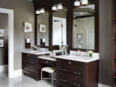 If space permits, two sink areas provide great convenience in shared bathrooms. bathroom design with two vanities