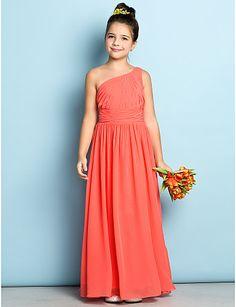 Ankle-length Chiffon Junior Bridesmaid Dress - Watermelon A-line One Shoulder 2016 - $59.99