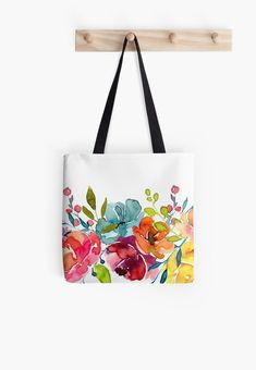 'Bright Flowers Summer Watercolor Peonies' Tote Bag by junkydotcom – Bag Painted Canvas Bags, Fabric Bags, Summer Bags, Printed Tote Bags, Handmade Bags, Handmade Bracelets, Fabric Painting, Cotton Tote Bags, Purses And Bags