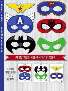 INSTANT DOWNLOAD Superhero Party Masks Superhero by LaBelleStudio More