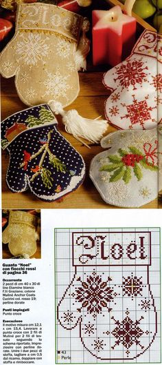 Christmas, New Year's hand-made articles: the embroidered mittens - idea hand-made articles - hand-made articles for children Quilt Stitching, Cross Stitching, Cross Stitch Embroidery, Halloween Embroidery, Christmas Embroidery, Christmas Sewing, Christmas Cross, Cross Stitch Designs, Cross Stitch Patterns