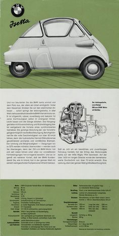 – BMW Isetta 1960 brochure (right side). – BMW Isetta 1960 brochure (right side). Bmw Isetta, Microcar, Trains, Bmw Classic Cars, Classic Motors, Car Advertising, Unique Cars, Small Cars, Bmw Cars