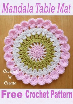 Crochet Doilies 31287 Pretty and free crochet pattern for a mandal table mat available on finished with a flurry of crochet shells this mat can be used on coffee or dining tables. Free Crochet Doily Patterns, Crochet Doilies, Crochet Flowers, Crochet Stitches, Free Pattern, Crochet Coaster Pattern, Crochet Ideas, Sewing Patterns, Crochet Home