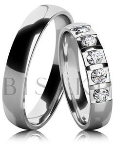 B16 Snubní prsteny z bílého zlata celé v lesklém provedení. Dámský prsten zdobený kameny. #bisaku #wedding #rings #engagement #svatba #snubni #prsteny