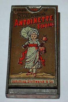 Antique-Stollwercks-Antoinette-Bonbon-Sample-Size-Tin-Box-Candy-Advertising