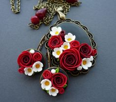P1170620 Polymer Clay Necklace, Polymer Clay Pendant, Fimo Clay, Polymer Clay Projects, Polymer Clay Art, Polymer Clay Miniatures, Polymer Clay Creations, Polymer Clay Embroidery, Polymer Clay Flowers