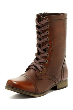 Lace-Up Combat Boot by Shoes Of Soul in Brown Burnish via HauteLook