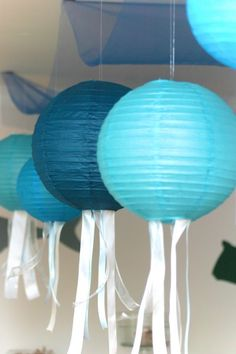 "Photo 8 of Under the Sea / Birthday ""Under The Sea Birthday Bash"" Birthday Bash, First Birthday Parties, Birthday Party Decorations, Birthday Ideas, Room Decorations, Jellyfish Decorations, Octonauts Party, Little Mermaid Parties, Under The Sea Party"