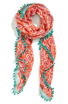 "Halogen ""Blossom Stripe"" Scarf in Coral/Turquoise (@nordstrom)"