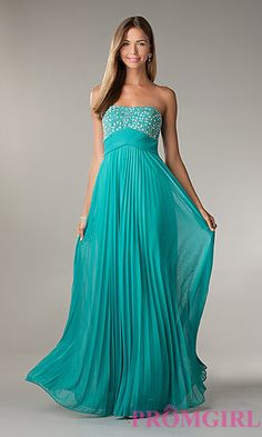 Long Strapless Pleated Prom Dress by LA Glo at PromGirl.com... Jade green