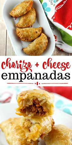 Chorizo + Cheese Empanadas - These are alright. I enjoyed the flavor, but these do not taste like normal empanadas to me. We seeved ours with a queso. Authentic Mexican Recipes, Mexican Dinner Recipes, Mexican Dishes, Authentic Food, Mexican Appetizers, Italian Recipes, Latin Food, Mexican Chorizo, Gastronomia