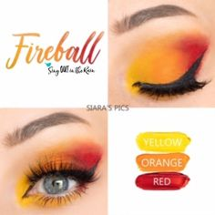 Fireball Eye Trio uses three SeneGence ShadowSense : Limited Edition Orange, Red and Yellow. These creme to powder eyeshadows will last ALL DAY on your eye. Orange Eyeshadow Looks, Natural Eyeshadow Looks, Yellow Eye Makeup, Red Eyeshadow, Red Makeup, Makeup For Green Eyes, Makeup Tips, Makeup Looks, Makeup Lessons