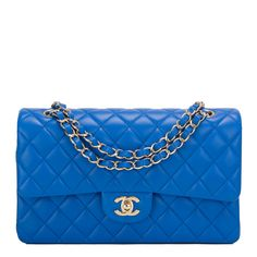 #Chanel Blue Quilted Lambskin Medium Double Flap #Bag