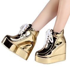 9a7e67cbd42c 46Getmorebeauty Womens Gold Chunky High Platform Wedge Heel... https   www