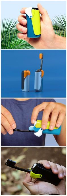 The compact and pocketable Banale Travel Toothbrush packs a toothbrush and toothpaste with pump head dispenser in a zippo lighter sized container.