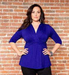 "This is on my ""must have"" list - love the blue and cut from @Kiyonna Clothing $58 #plussize"