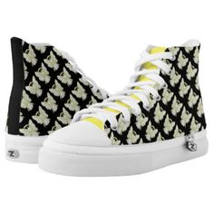 Yellow Awareness Ribbon Angel Custom High Tops for Bladder Cancer or Sarcoma/ Bone Cancer