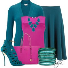 Fuchsia Pink 3/4 Pant, Teal Blazer, White Doremi Shredded Sleeves Blouse, White Wedge Heels, Black Bag, Multi Colored Long Gold Encrusted Jewels Chain, Gold Watch, Gold Wedding Ring, Gold Crown Bangle & Gold Knob Earrings.