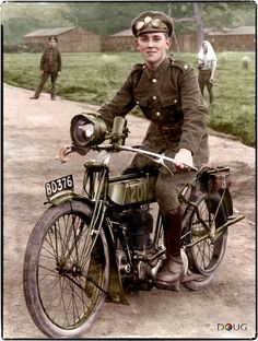 A Royal Engineers Signals Corps, Dispatch Rider on his Triumph 550 Model H at the Maresfield Army Camp, East Sussex. c.1914