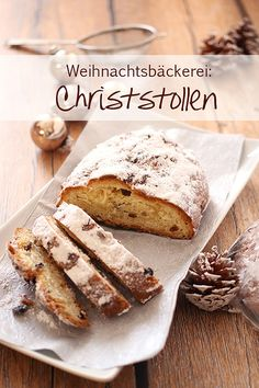 Klassischer Christstollen - traditionelle Weihnachtsbäckerei Bread, My Favorite Things, Christmas, Food, Clarified Butter, Sheet Pan, Ginger Beard, Weihnachten, Simple