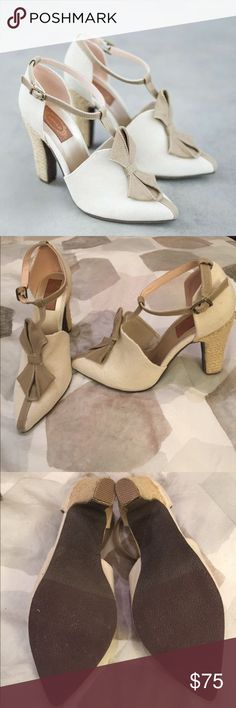 Beautiful Joyfolie Booties Gorgeous Joyfolie brand Booties. Beige with a tan bow. Super cute and comfortable. Never worn, still in box. Joyfolie Shoes Ankle Boots & Booties